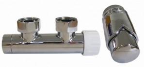 602100007 Zestaw duo-plex 3/4xM22x1,5 kątowy lewy chrom + Nypel 2szt. 1/2 x 3/4