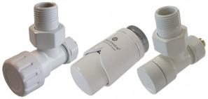 604200012 Zestaw termostatyczny Elegant kątowy PEX biały