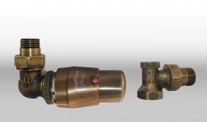 Zestaw termostatyczny MASTER wersja osiowa lewa mosiądz antyczny