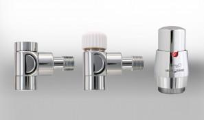 Zestaw instalacyjny LUX 2 do grzejnika łazienkowego wersja kątowa chrom