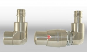 Zestaw instalacyjny LUX 1 do grzejnika łazienkowego wersja osiowa prawa nikiel szlifowany