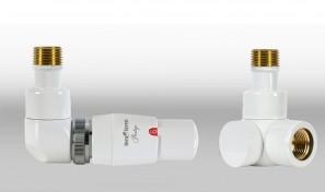 Zestaw instalacyjny LUX 3 do grzejnika łazienkowego wersja osiowa lewa biała