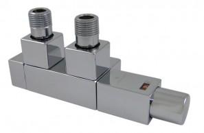 605900096 Zestaw duo-plex Square 1,2 x GW 1/2 Stal kątowy lewy, antyczny mosiądz