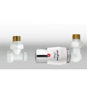 Zestaw termostatyczny MASTER wersja osiowa prawa biała-chrom