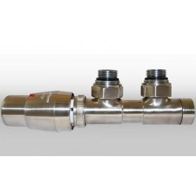 Zestaw TWINS 3/4x3/4 kątowy lewy nikiel szlifowany + Nypel 2szt. 1/2 x 3/4