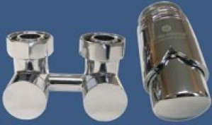 601000024 Zestaw armatury Exclusive 3/4xM22x1,5 kątowy chrom + Nypel 2szt. 1/2 x 3/4
