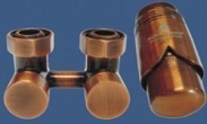 601000036 Zestaw armatury Exclusive 3/4xM22x1,5 kątowy antyczna miedź + Nypel 2szt. 1/2 x 3/4