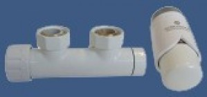 602100003 Zestaw duo-plex 3/4xM22x1,5 kątowy lewy biały + Nypel 2szt. 1/2 x 3/4