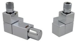 605800001 Zestaw termostatyczny Square 1/2 x Cu 15x1 kątowy biały