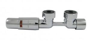 606100057 Zestaw Duo-plex Mini, 3/4 x M22x1,5. Figura kątowa lewa Chrom