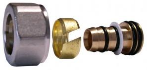602600003 Złączka zaciskowa do rury z tworzywa sztucznego GW M22x1,5 - 16x2 niklowana