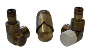 603700054 Zestawy łazienkowe LUX GZ ½ x złączka 16x2 PEX osiowo lewy Antyczny mosiądz
