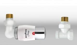 Zestaw termostatyczny MASTER wersja osiowa lewa biała-chrom