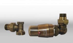 Zestaw termostatyczny MASTER wersja osiowa prawa mosiądz antyczny