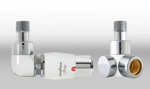 Zestaw instalacyjny LUX 3 do grzejnika łazienkowego wersja osiowa lewa  biała chrom