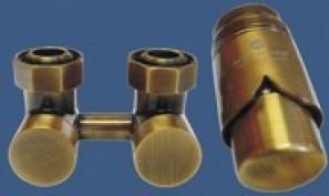 601000040 Zestaw armatury Exclusive 3/4xM22x1,5 kątowy antyczny mosiądz + Nypel 2szt. 1/2 x 3/4
