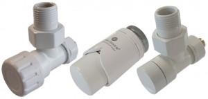 604200011 Zestaw termostatyczny Elegant kątowy Cu biały