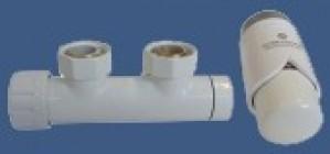 602100001 Zestaw duo-plex 3/4xM22x1,5 kątowy prawy biały + Nypel 2szt. 1/2 x 3/4