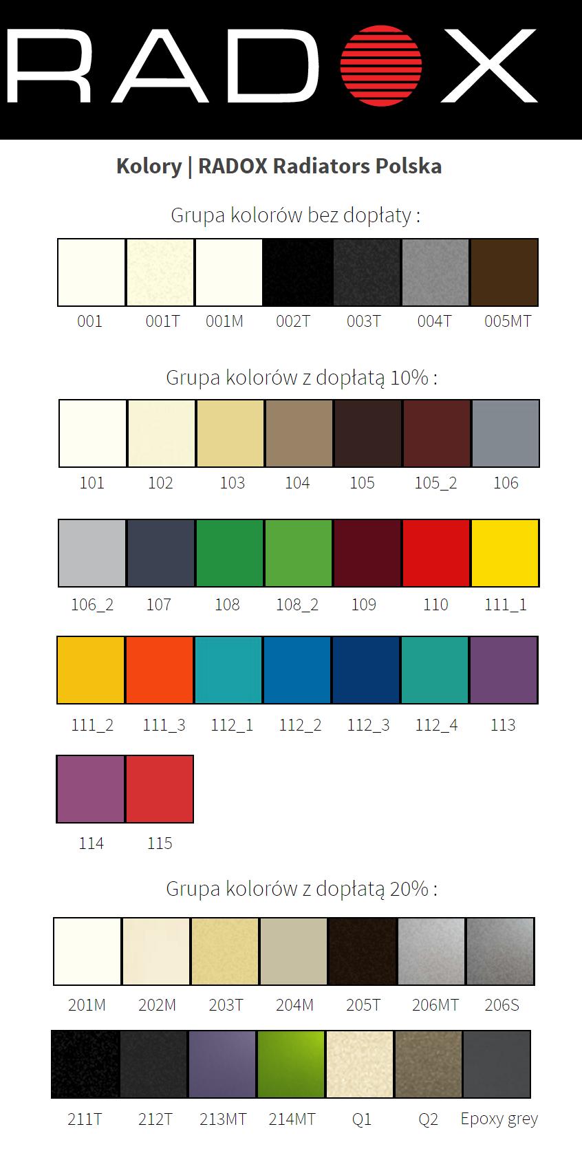 Paleta kolorów radox